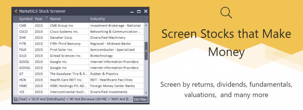 marketxls reviews screener