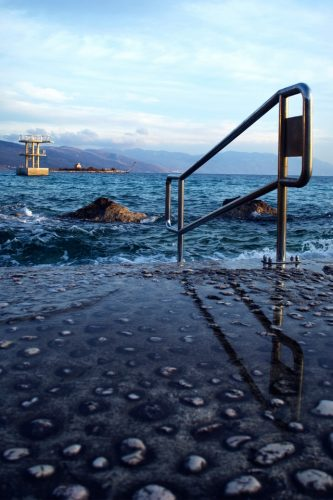 offshore oil rig in icy water