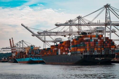 loaded cargo ship