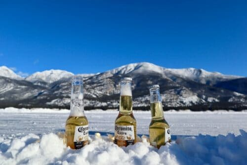 Corona beer in the snow