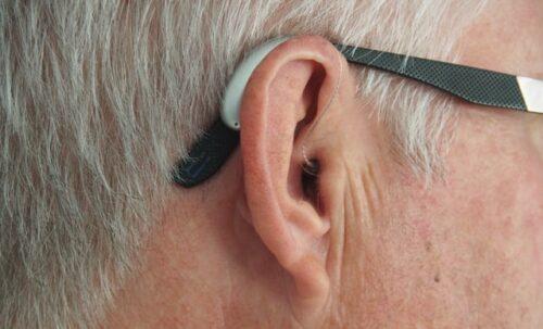 man wearing hearing aids