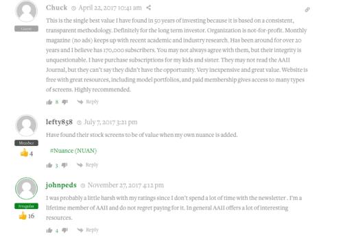AAII reviews