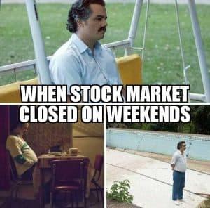 stock market weekend meme