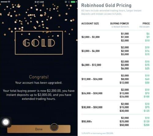 Robinhood Gold costs