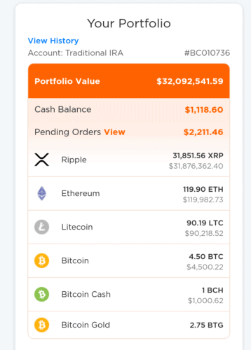 BitcoinIRA portfolio