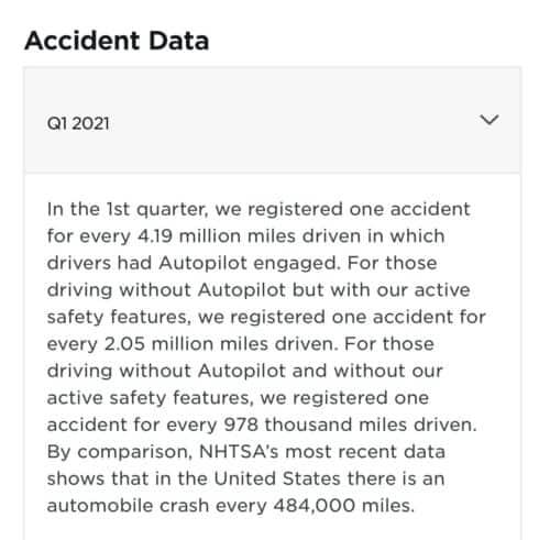Tesla crash accident data tweet