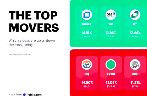 Pubic.com top movers