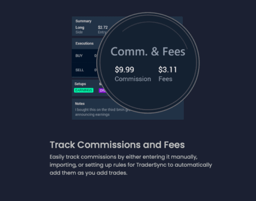 Tradersync review: track commissions and fees