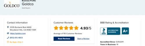 Goldco BBB reviews