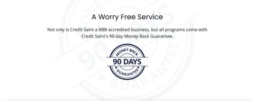 Credit Saint money back guarantee