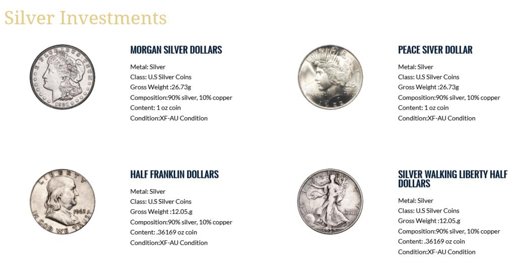 monetary gold silver coins