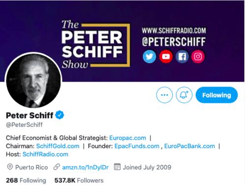 Stock Market Twitter accounts Peter Schiff